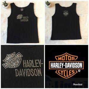 Harley Davidson Tank Black w/ Rhinestones